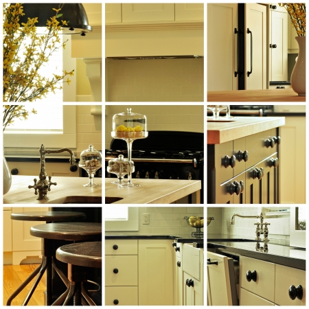 Collage of various images of kitchen cabinetry