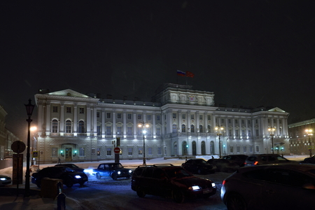 St.PETERSBURG, RUSSIA - NOVEMBER 07 2016 The building of the Legislative Assembly of St. Petersburg during a snowfall  night