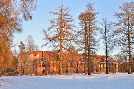 The old red brick building next to the Obvodny canal in the Alexander Park in winter. Pushkin, Tsarskoye Selo, Saint Petersburg