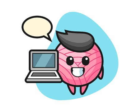 Illustration pour Yarn ball cartoon with a laptop, cute style mascot character - image libre de droit