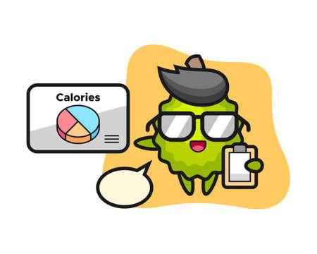 Illustration pour Durian cartoon as a dietitian, cute style mascot character for t shirt, sticker design, logo element - image libre de droit