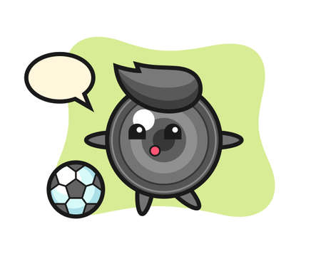Illustration for Illustration of camera lens cartoon is playing soccer, cute style design for t shirt, sticker, logo element - Royalty Free Image