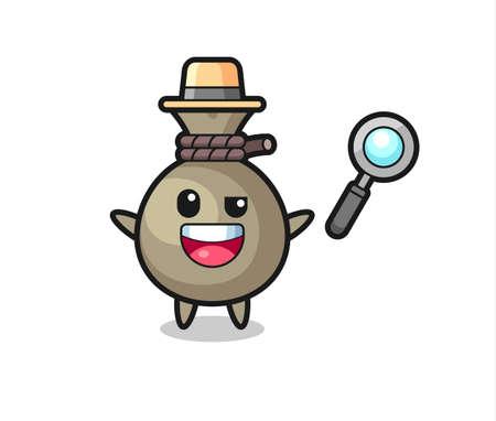 Illustration pour illustration of the money sack mascot as a detective who manages to solve a case , cute style design for t shirt, sticker, logo element - image libre de droit