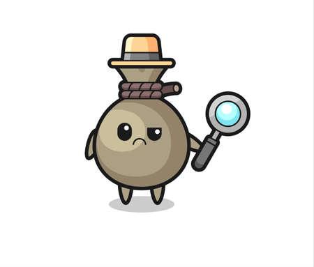 Illustration pour the mascot of cute money sack as a detective , cute style design for t shirt, sticker, logo element - image libre de droit