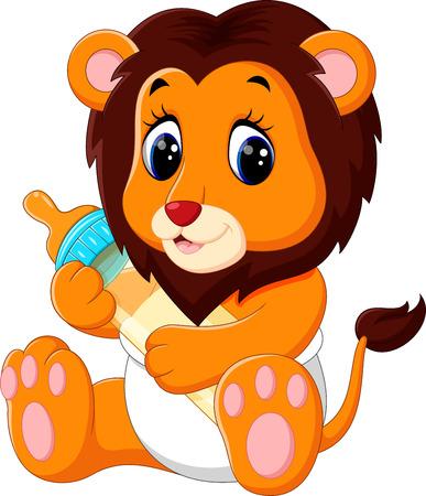 Illustration pour illustration of cute baby lion cartoon - image libre de droit