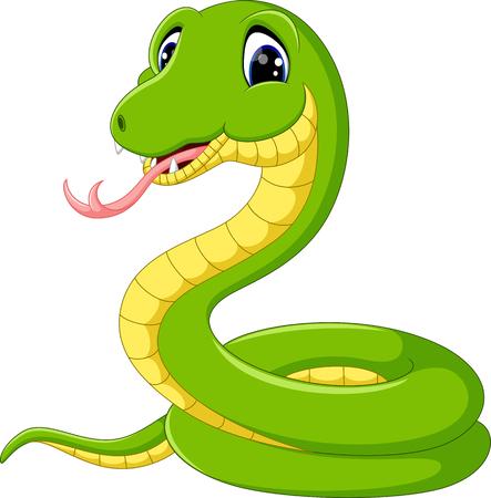 Illustration pour Cute green snake cartoon - image libre de droit