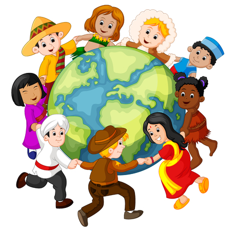 Illustration for Children holding hands around the world. - Royalty Free Image