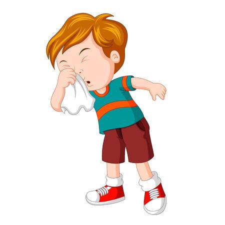 Illustration pour Little boy sneezing hard - image libre de droit