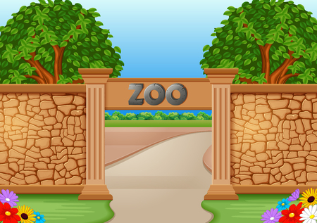 Zoo in a beautiful nature illustration.
