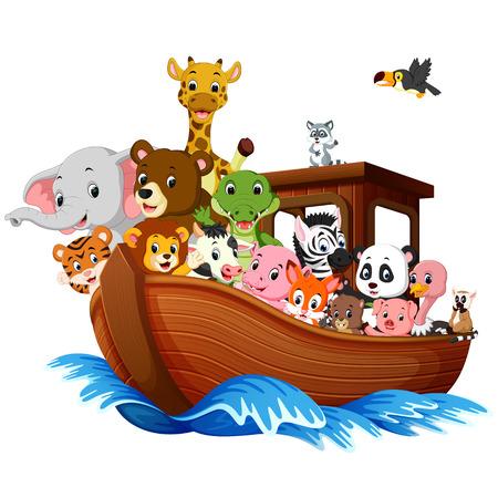 Ilustración de Ark boat with animals cartoon Vector illustration. - Imagen libre de derechos