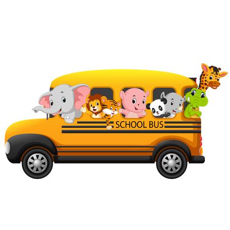 Ilustración de Illustration of school bus filled with animals. - Imagen libre de derechos