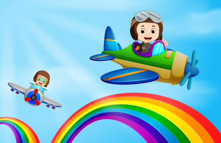 Ilustración de Two airplane flying over rainbow - Imagen libre de derechos