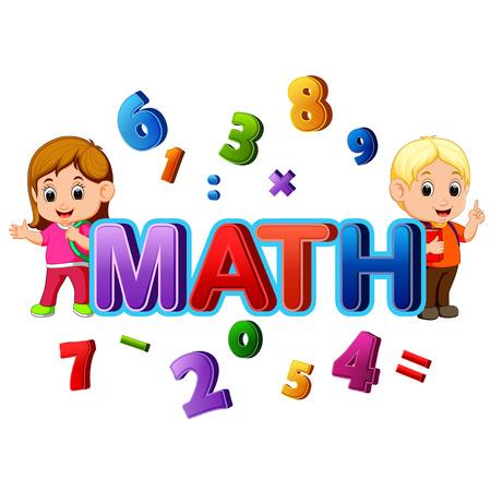 Ilustración de Font design for word math with student - Imagen libre de derechos