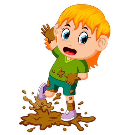 Illustration for Little girl playing in the mud - Royalty Free Image