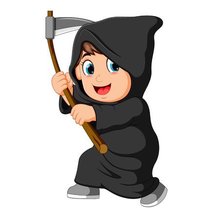 Illustration pour boy wearing grim reaper costume with scythe - image libre de droit