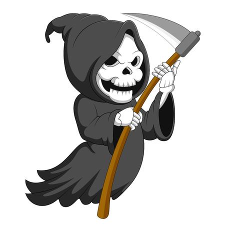 Illustration pour Cute cartoon grim reaper with scythe - image libre de droit