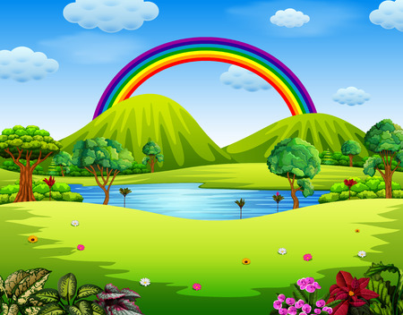 Ilustración de a colorfull garden with the beautiful rainbow - Imagen libre de derechos