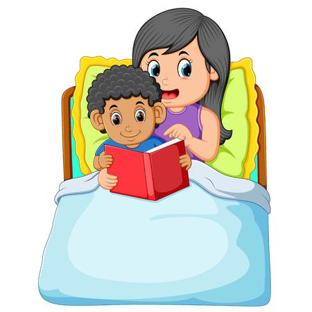 Ilustración de the curly boy is going to sleep and reading the book with his mother - Imagen libre de derechos