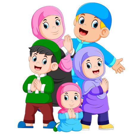 Illustration pour A group of muslim family are celebrating ied mubarak together - image libre de droit