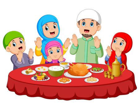 Ilustración de A happy family are praying for eat the food on the ied mubarak - Imagen libre de derechos