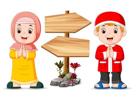 Illustration pour the two muslim children are standing near the wooden signpost - image libre de droit
