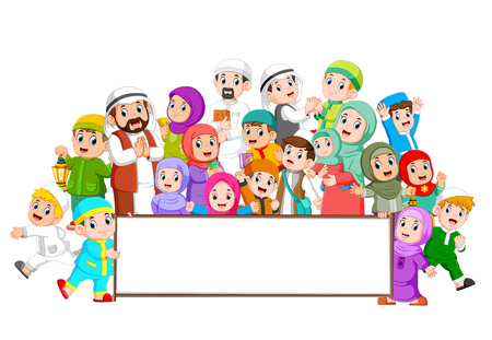 Illustration for A big muslim family are gathering near the blank board - Royalty Free Image