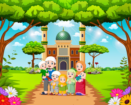 Illustration pour the happy family are posing in front of the beautiful mosque - image libre de droit