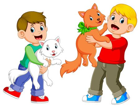 Illustration for the boys are playing with their cats with the happy face - Royalty Free Image