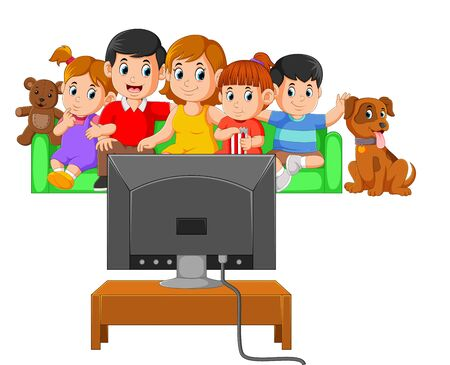 Illustration pour the children with their parents are watching the television together - image libre de droit