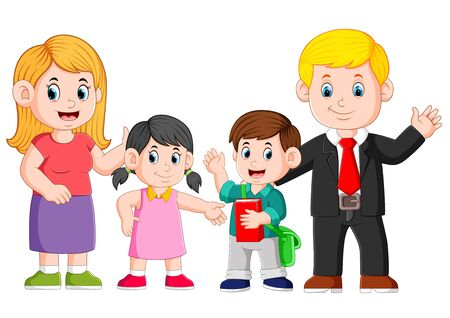 Illustration for the happy family are posing with the happy face - Royalty Free Image