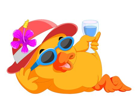 Illustration pour illustration of duck resting and relaxing on beach - image libre de droit