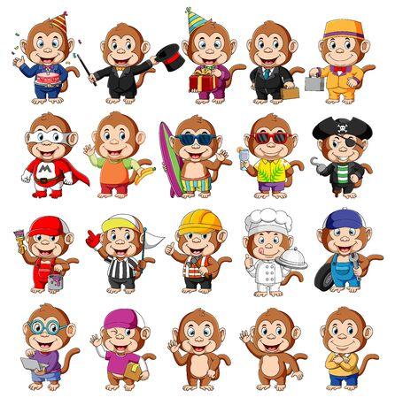 Illustration pour Cute monkey cartoon mascot pack of illustration - image libre de droit