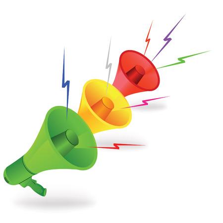 Three loudspeakers like traffik lights with colored lightnings.  Vector illustration.