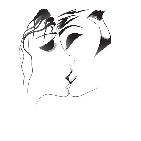 Vector hand drawn loved couple.