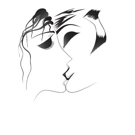 Ilustración de Vector hand drawn loved couple.  - Imagen libre de derechos