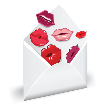 Open envelope with glossy kisses. Love mail.