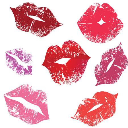 Print of lips, kiss,