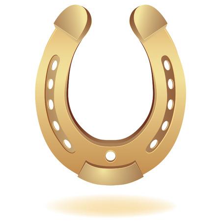 gold horseshoe as fortune symbol. Vector illustration. Element for design.