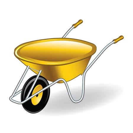 Yellow wheelbarrow / barrow. Vector illustration.