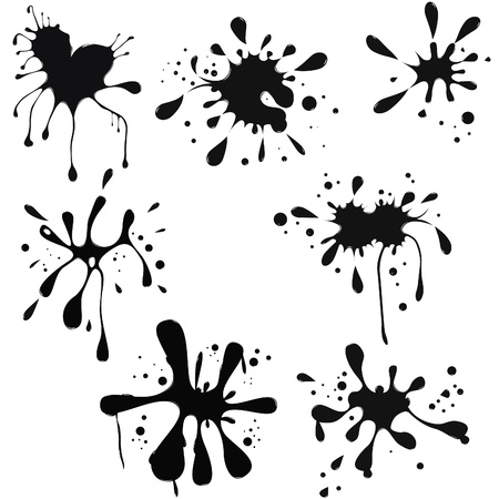 black ink blot. Glossy splash, droplet.