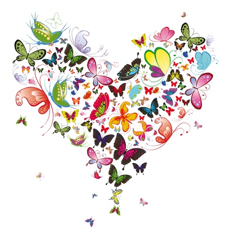 Butterfly heart, valentine vector illustration. Element for design