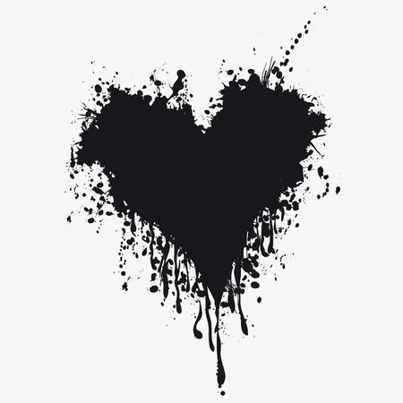 Grunge heart ink blood . Love splash splatter illustration.