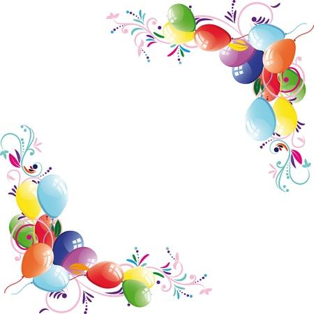Floral balloon background, birthday frame, design element, vector illustration.