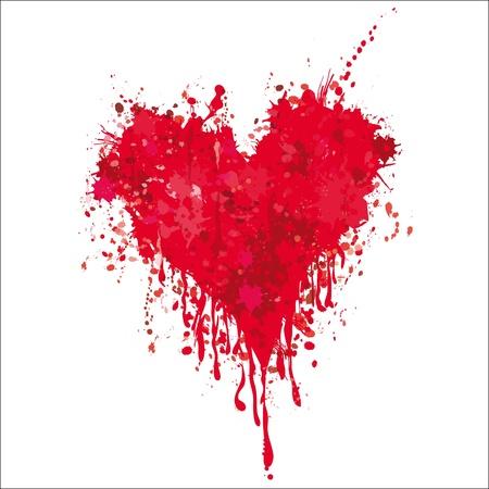 Illustration pour Grunge heart ink blood vector. Love splash splatter illustration. - image libre de droit