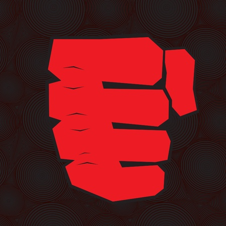 Red clenched fist hand. Victory, revolt concept. Revolution, solidarity, punch, strong, strike, change illustration.