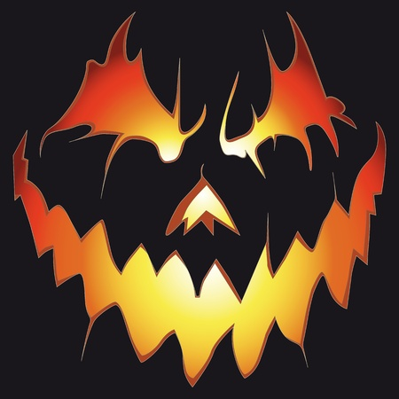 Halloween background. Scary pumpkin. Anger smile.