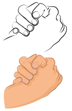 Hand friendly greeting shake between two persons. Vector illustrastion.