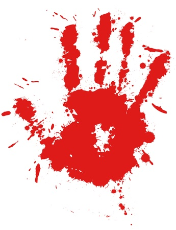 Red drop ink splatter hand print, blood splash vector. Gloss brush paint spot, grunge blot, art blob, oil, abstract droplet. Splat, liquid illustration.