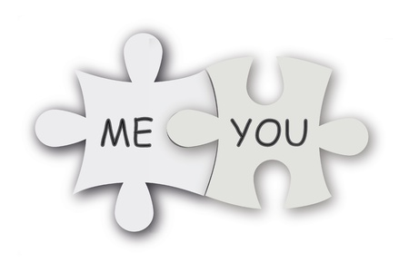 Paper jigsaw puzzle as love symbol. Cute valentine background.