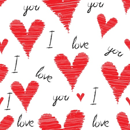Illustration for Scribble, stroke red vector heart background, seamless pencil illustration. Cute love pattern, Valentine Day - Royalty Free Image